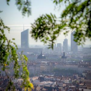 Vue du quartier de la Part-Dieu depuis le jardin des curiosités à Lyon